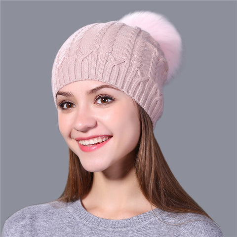 Xthree real fox fur pom poms winter hat for women warm wool  beanie knitted hat for girl thick female wool cap brand  2017 new