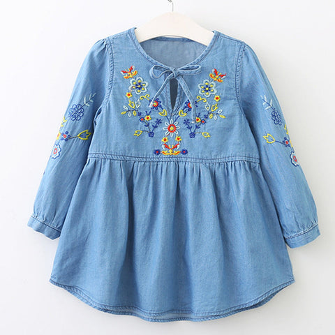 Bear Leader Girls Dress 2017 New Autumn Brand Baby Girls Denim Blouse Flowers Embroidery Kids Shirts Children Clothing Dress