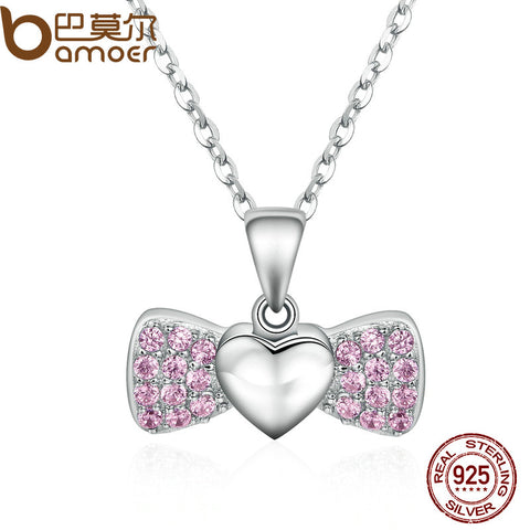 BAMOER 100% 925 Sterling Silver Sweet Heart Bowknot Pink Crystal Pendants Necklace for Women Fine Jewelry SCN073