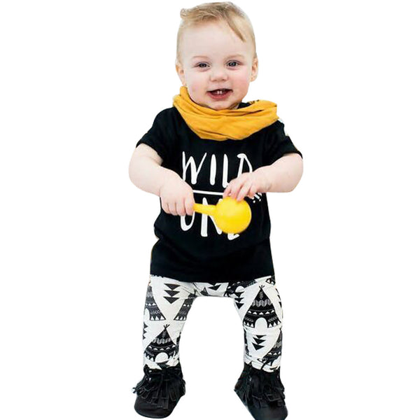 Baby Set Letter Print T-Shirt +Geometric Pattern Pants Boys Clothing Suit Baby boys clothes set