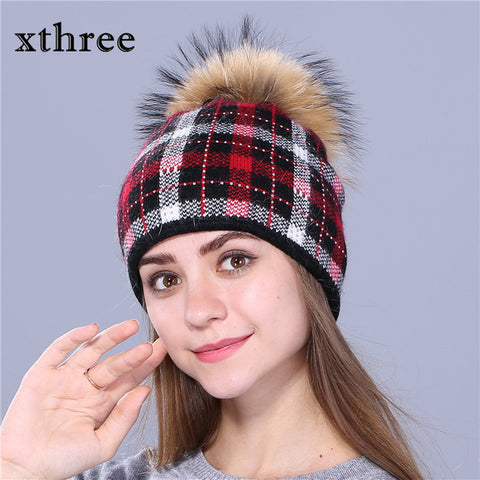 Xthree real mink knitted hat wool rabbit fur hat for women girls winter hat red beanies Skullies hat