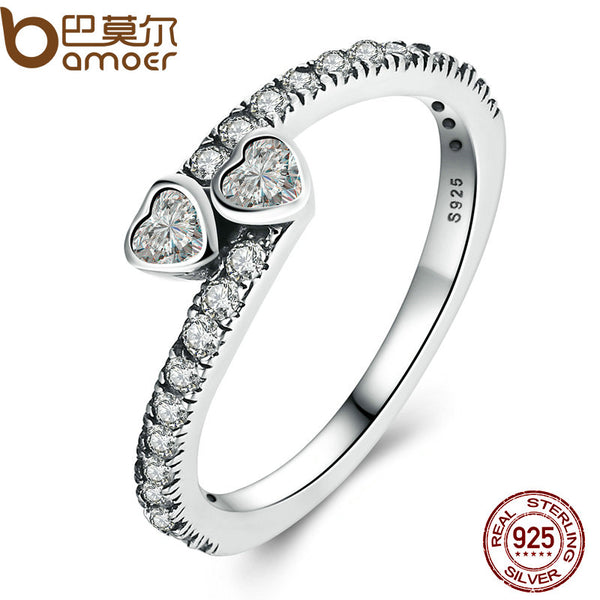 BAMOER Genuine 925 Sterling Silver Forever Hearts, Clear CZ Finger Ring Women Wedding Jewelry PA7614