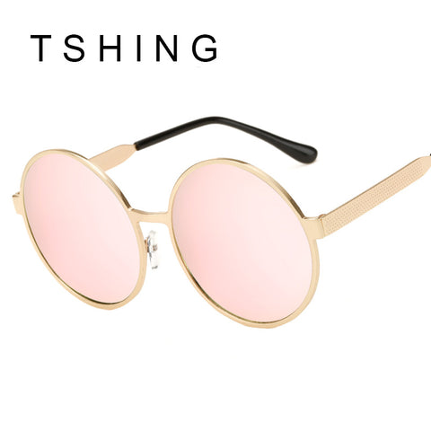 TSHING M Metal Steampunk Sunglasses Women Oversized Round Circle Sunglass Coating Glasses Vintage Retro Sunnies For Female