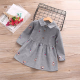 Bear Leader Girls Dress 2017 New Autumn Brand Baby Girls Striped Turn-down Collar Love Candy Embroidery Children Clothing Dress