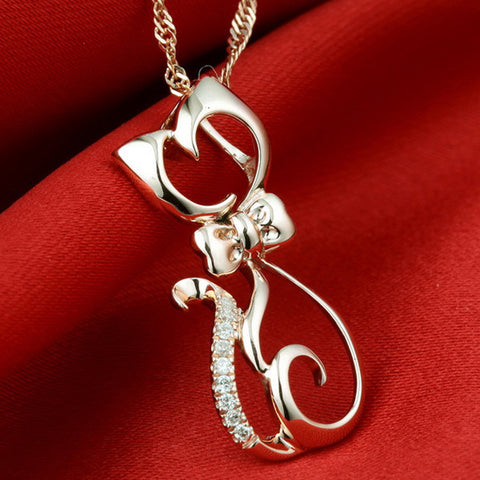 GAGAFEEL Cute Animal Cat Pendant Pure 925 Sterling Silver Luxury Rose Gold Color Pendants For Women Lady Fine jewelry DN033