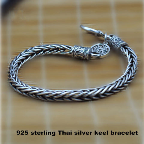V.Ya 4mm 925 Sterling Silver Bracelet for Men Vintage Mantra Thai silver bracelets wedding cool Men jewelry Fine Jewelry HYB2