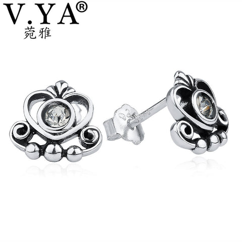 V.YA 925 Sterling Silver Royal Crown Stud Earrings For Women Clear Crystal My Princess Wedding Earrings Fine Jewelry