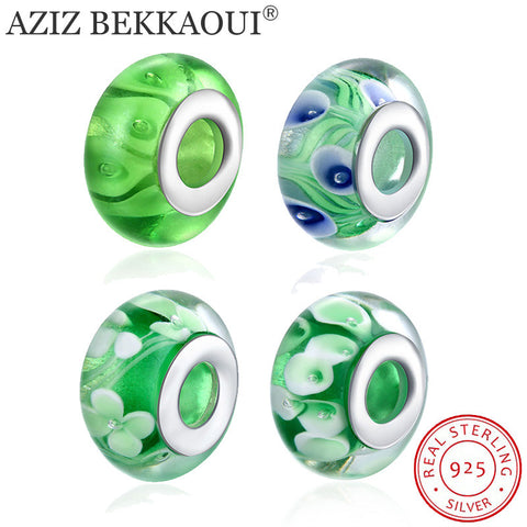 Sterling-silver-jewelry Murano Glass Beads Fit Pandora Charm Bracelet 925 Sterling Silver Green Spacer Beads for Jewelry Making