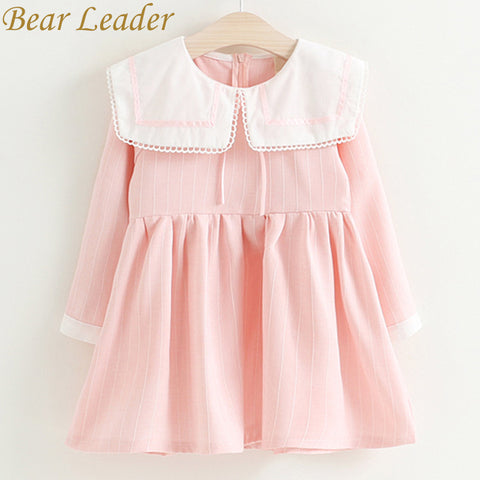 Bear Leader Girls Dress 2017 New Autumn Brand Baby Girls Sailor Collar Plaid Kids Dress Children Clothing Dress For 3-7 Years