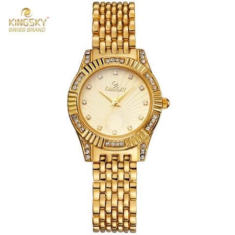 Ladies Diamond Oval Alloy Golden Casual Watch Female Diamond Accessory Luxury Bracelet Valentine Gift Quartz Clock