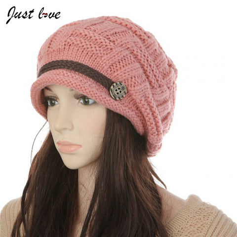 Elegant Womens Winter warm Hat Female Fall Knitted Hats for Woman Cap Autumn and Winter Ladies Fashion Skullies Beanies