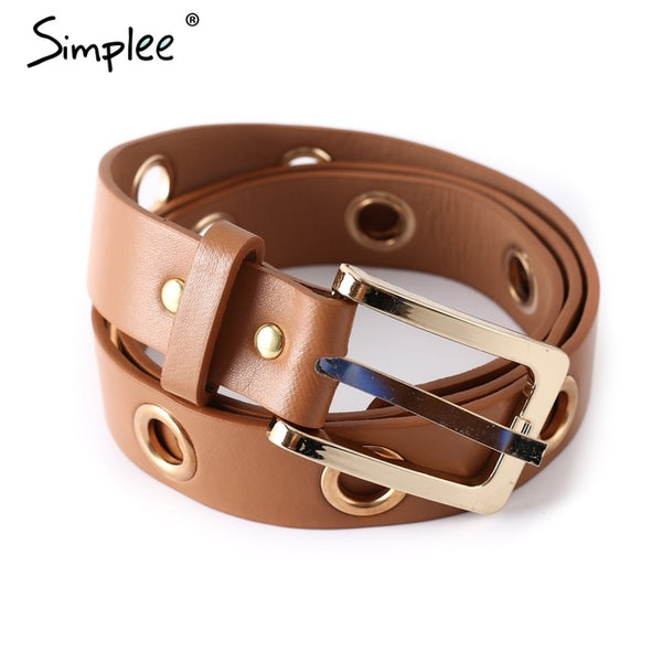 Simplee Fashion PU leather women belt Hole metal button buckle high quality brand waist belt Vintage luxury belts cummerbunds