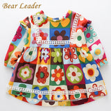 Bear Leader Girls Dress 2017 New Autumn Brand Baby Girls Blouse Cute Flowers Print&Lace Kids Shirts Children Clothing Dress