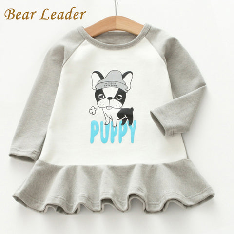 Bear Leader Girls Dress 2017 New Autumn & Winter Brand Baby Girls Dress Cute Puppy Print Kids Dress Children Clothing Dress