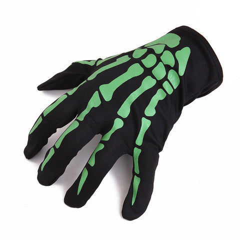 2017 Fashion New Halloween Skull Bone Skeleton Goth Racing Full Finger Gloves White Green luvas de inverno High Quality