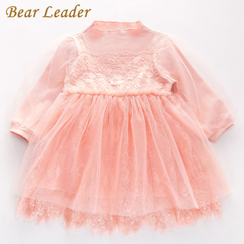 Bear Leader Girls Dress 2017 New Autumn Brand Baby Girls Lace Flowers Patchwork Kids Dresses Children Clothing For 2-7 Years