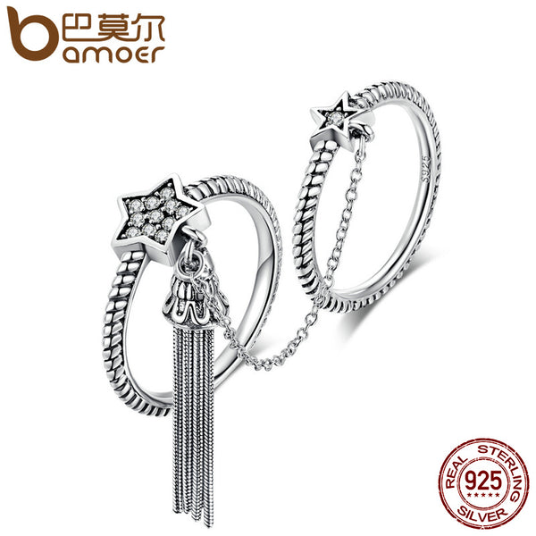 BAMOER New Arrival 925 Sterling Silver Star & Tassel CZ Double Layer Finger Ring for Women Fashion Silver Jewelry Gift SCR085