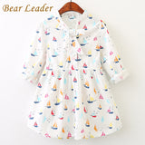 Bear Leader Girls Dress 2017 New Autumn Baby Girls Full Sailboat Print Ribbon Bow Kids Children Clothing Dress For 3-11 Years