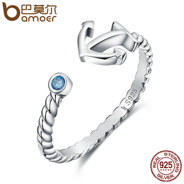 BAMOER Authentic 925 Sterling Silver Light Blue Stone Anchor Women Open Finger Ring Fashion Sterling Silver Jewelry Gift SCR070
