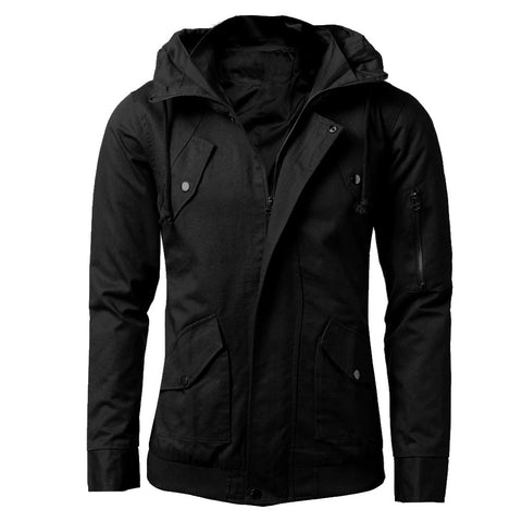 2017 New Fashion Mens Slim Fit Sexy Jackets Top Designed Stylish Coats Zipper Hat Jacket Coat