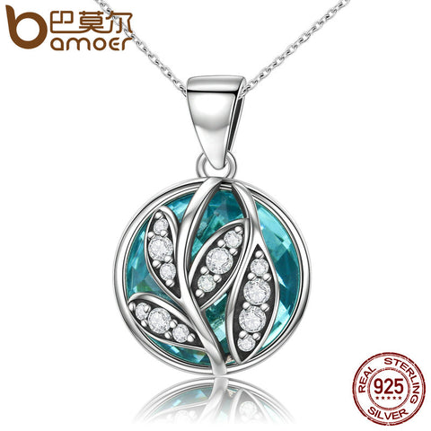 BAMOER Trendy Authentic 925 Sterling Silver Green Crystal CZ Tree of Life Pendant Necklaces for Women Fine Jewelry Gift SCN109