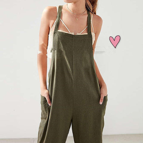 S-XL Women Military Strappy Dungaree Overalls Casual Loose Harem Romper Jumpsuit Bib Cargo Pants Long Suspender Trousers 2017