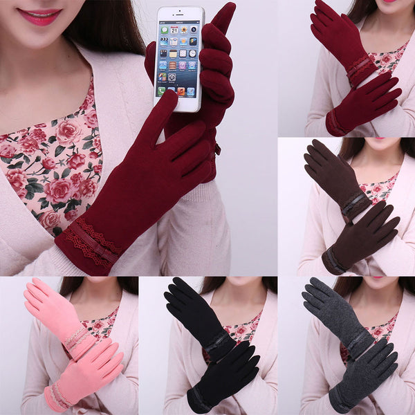 1Pair Fashion Womens Lace Bowknot Gloves Casual Solid Winter Warm Outdoor Sport Gloves &Wholesale
