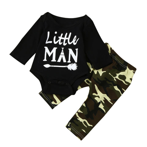 "Baby Boys clothes ""Little Man"" Letter Romper Tops+ Camouflage Pants Outfits Baby Clothes Set drop shipping"