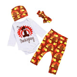 Baby clothes Thanksgiving Newborn Baby Girl Outfits baby Romper Clothes +Pants+Hat+Headband Set drop shipping
