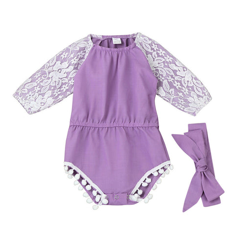 Baby girls romper oddler Baby Girls Lace Splice Long Sleeve Clothing Romper Sunsuit Jumpsuit baby clothes drop shipping