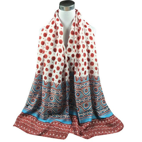Autumn Winter Long Scarf Fashion National Style Scarves For Women Printed Cotton Sarong Wrap Shawl Scarves Glamorous hijab