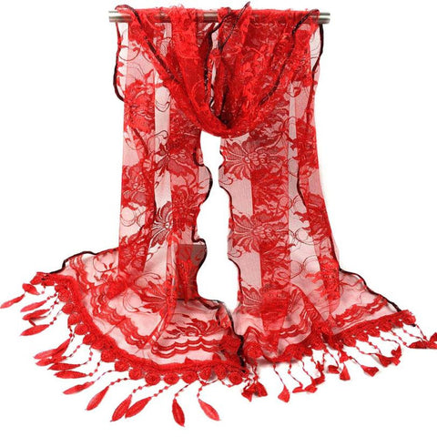 Fashion Long Scarf Women Sexy Lace Printed Scarves With Tassel Wrap Shawl Flower Scarves Pashmina echarpes foulards femme