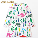 Bear Leader Girls Dress 2017 New Autumn Children Clothing Long Sleeve Sunflower Flowers Print For Baby Girls Dress For 3-7 Years