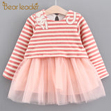 Bear Leader Girls Dress 2017 Autumn Brand Baby Girls Blouse Striped Cute Cat Princess Children Dress Kids Clothing For 6-24M