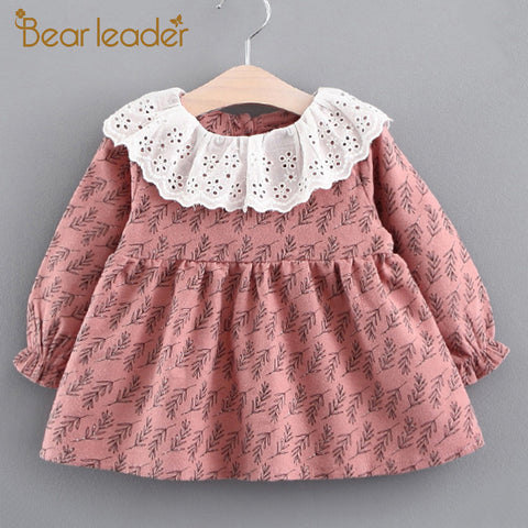 Bear Leader Girls Dress 2017 New Autumn Brand Baby Girls Blouse Lace Crew Neck Grass Printed Children Clothing Dress For 6-24M