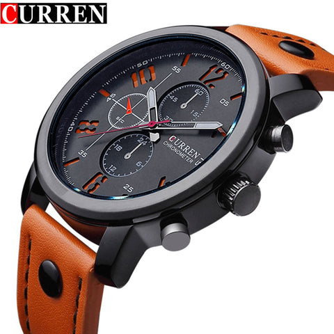 Fashion Brand Quartz Watch Men Casual Leather strap Business Wristwatch Military Sport Relogio Male montre homme Curren 8192 New
