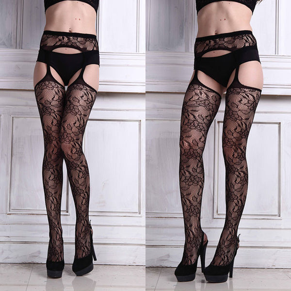 Sexy Womens Lingerie Net Lace Top Garter Belt Thigh Stockings Pantyhose