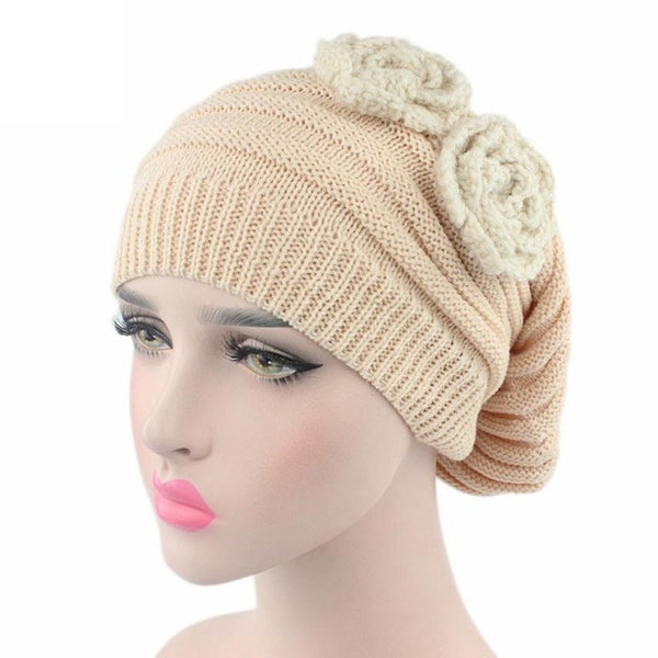 Solid Flower Knitted Beanie Hat For Women Ladies Cancer Hat Beanies 2017 New Arrival Winter wram Turban Head Wrap Cap Pile Cap