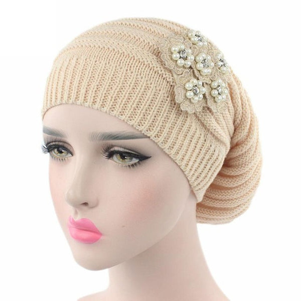 2017 Winter Warm Knitting Cancer Hat Beanie Fashion Women Ladies Turban Head Wrap Cap Pile Cap Bead Prited Fitted Skullies