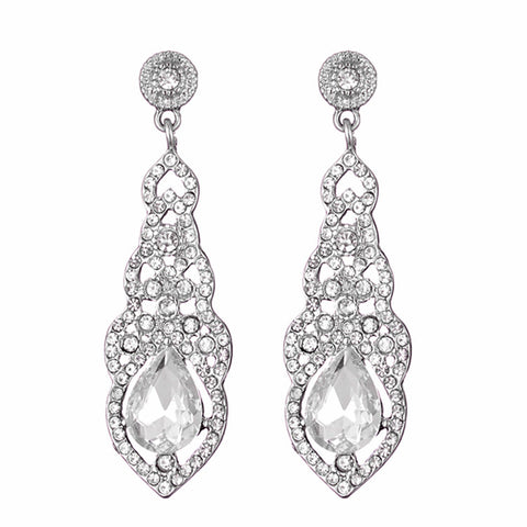 Crystal Wedding Earrings for Women Silver Color Bridal Long Earrings