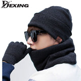 [Dexing]fashion cashmere winter hat for men skiing  neutral scarf gloves neck warmer snowboard touch screen touch finger gloves