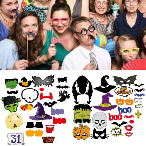 Halloween Props Decoration 22/24 Pieces Photo Booth Props Mascara Mask for Kids Men Photobooth Mask Witch Bats Party Accessories