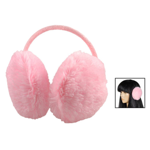 Hot Woman Pink Plush Fluffy Back Ear Cover Warmer Muffs Earmuffs