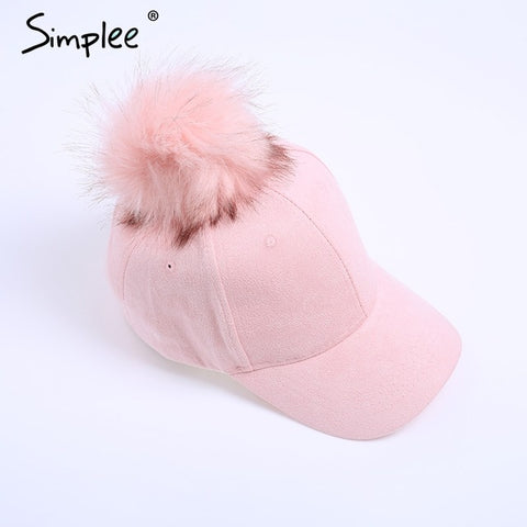 Simplee Winter pompom pink suede baseball cap Women autumn casual streetwear black cap 2017 Elegant female hat cap