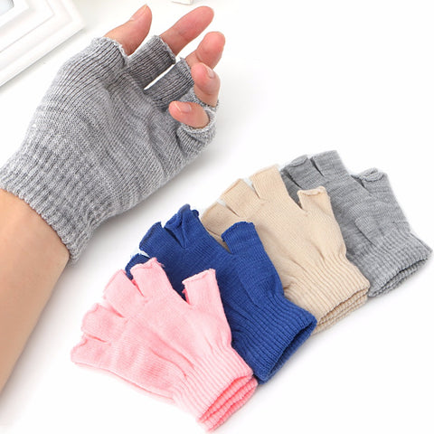 New 1 Pair Stretch Knitted Gloves Men Women Fingerless Winter Warmer Mittens 4 colors