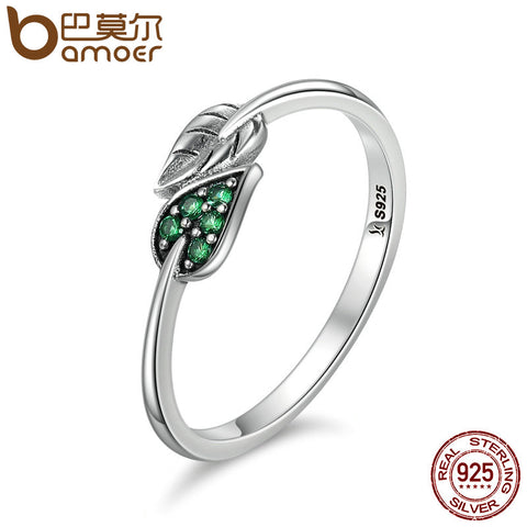 BAMOER 100% 925 Sterling Silver Dancing Leaves Leaf Green Dazzling CZ Finger Rings for Women Engagement Jewelry Anel Gift SCR093