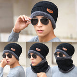 Fashion Winter Men Cap Scarf Wool Knitted Wool Keep Warm Thicken Beanies Man Casual Bonnet Hat Scarfs H9