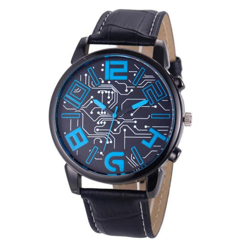 Luxury Men's Leather Strap Analog Quartz Sports Wrist Watch Watches