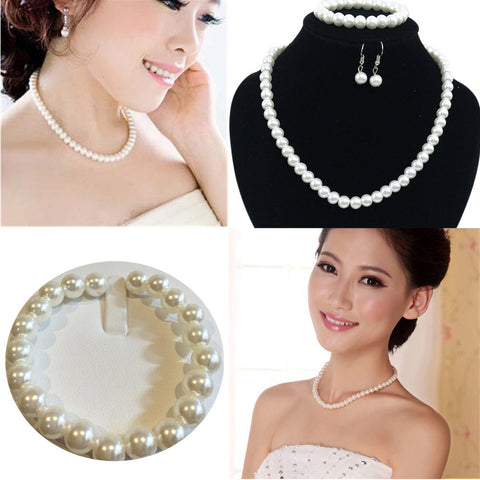Women Prom Wedding Party Bridal Jewelry Necklace Earrings Bracelet Set