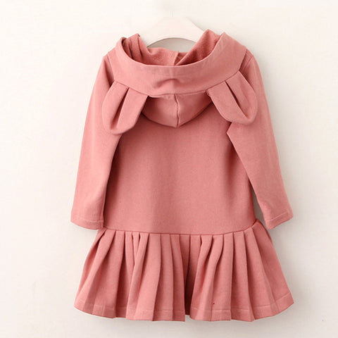 Bear Leader Girls Dress 2017 Autumn Brand Baby Girls Blouse Rabbit Ears Hooded Ruched Long Sleeve Children Clothing Dress 2-6Y